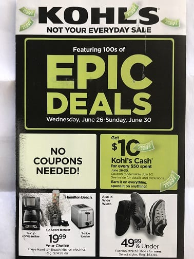 Kohls Epic Deals June 26 - June 30 2019