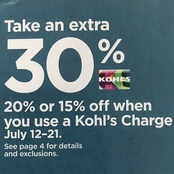 kohls 30 percent off March 2021
